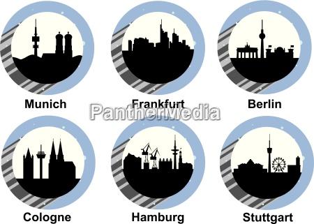 icon set deutsch staedte