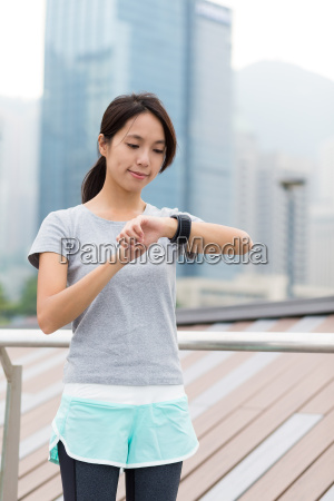 asian woman use of the smart