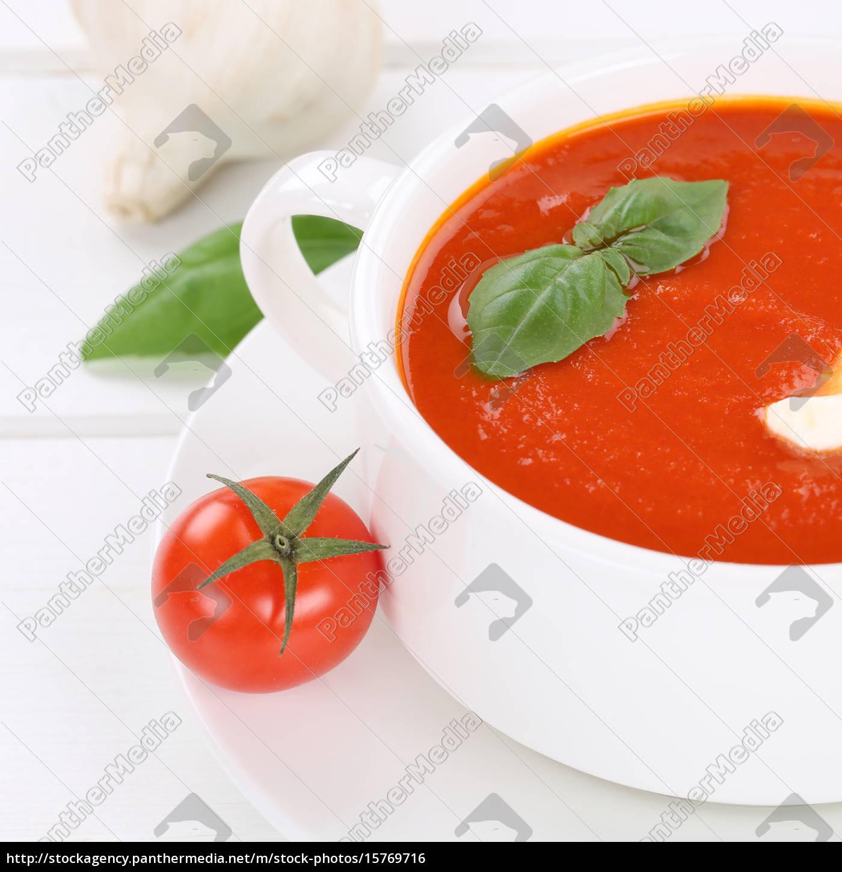 Gesunde Ernährung Frische Tomatensuppe Lizenzfreies Foto