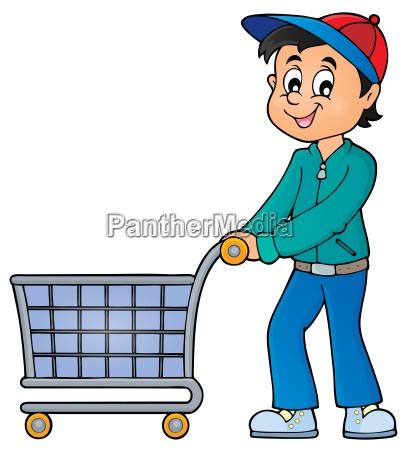 mann mit leerem einkaufswagen