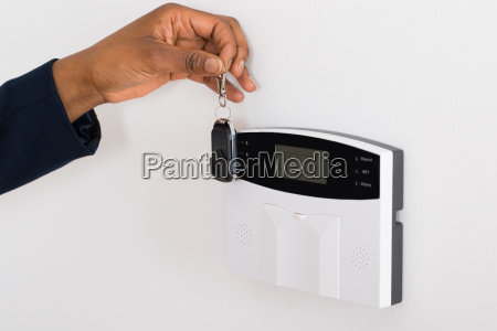 human hand with security system and