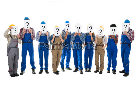 construction workers hiding faces with question