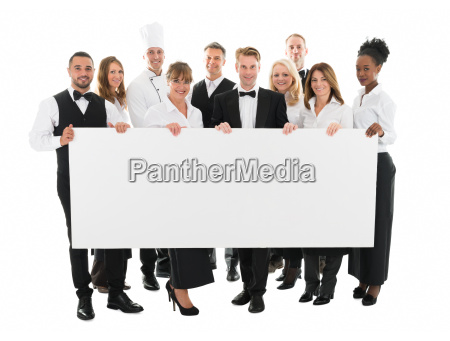 zuversichtlich restaurant staff holding blank billboard