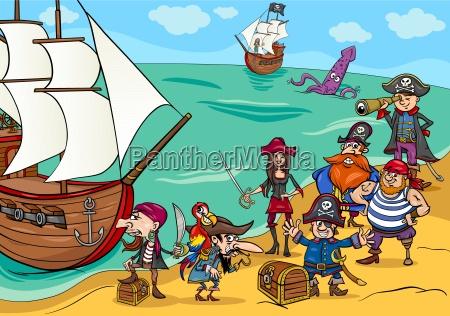piraten mit schiff cartoon