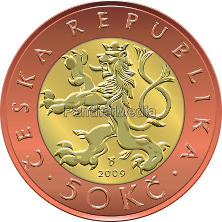 vektor gold geld fuenfzig tschechische kronen