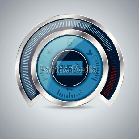 alle, digitalen, metallisch, glänzenden, tacho, drehzahlmesser - 15804949