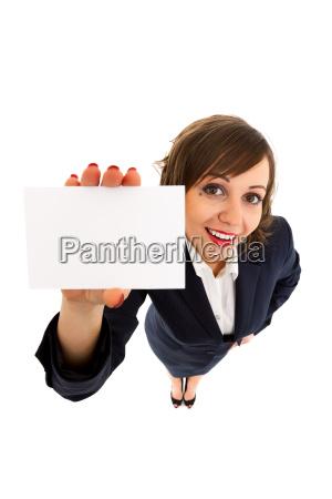 geschaeftsfrau mit leeren karte
