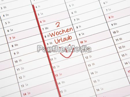 kalender zwei wochen urlaub