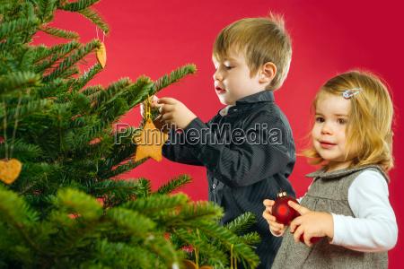 bruder und schwester haengen christbaumschmuck