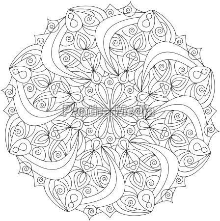 Mandala, Vorlage Malbuch für Erwachsene, - Stockfoto - #15832995 ...