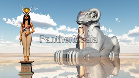 goettin hathor und widdersphinx