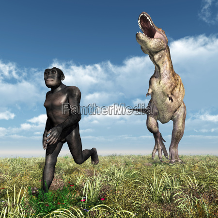 tyrannosaurus rex attackiert den homo habilis