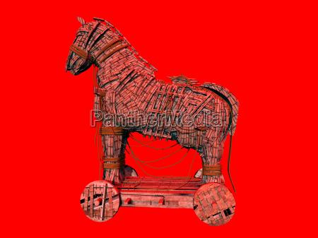 warnsymbol fuer das computerprogramm trojanisches pferd