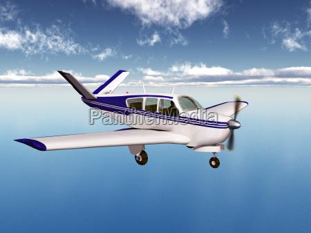 leichtflugzeug ueber dem meer