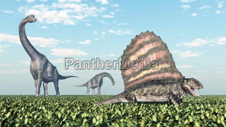 brachiosaurus und dimetrodon