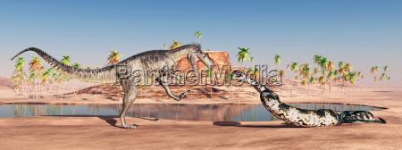 megalosaurus und titanoboa attackieren sich gegenseitig