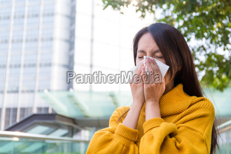 asian young woman got sick