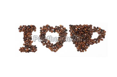 geroestete kaffeebohnen in der form des