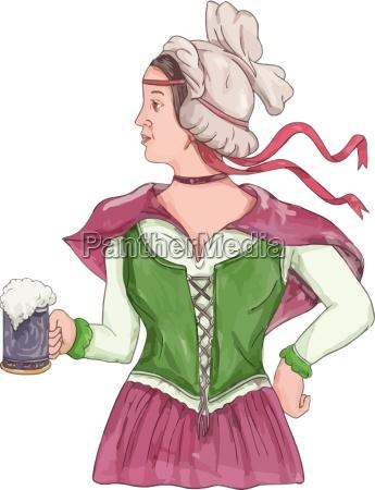 german barmaid serving beer watercolor