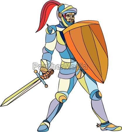 knight full armor with sword defending