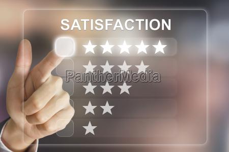 business hand pushing satisfaction on virtual