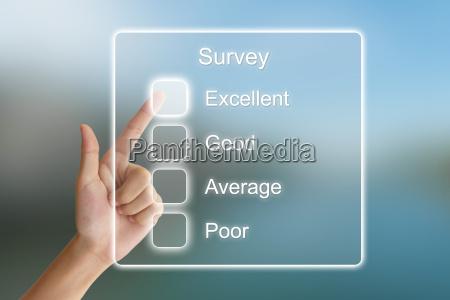 hand pushing survey on virtual screen