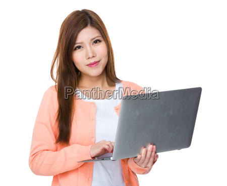 asian woman use of notebook computer