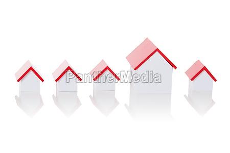 house model arranged in row