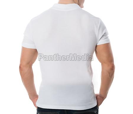 man wearing blank white tshirt on