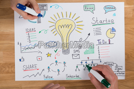 unternehmer machen strategie am schreibtisch