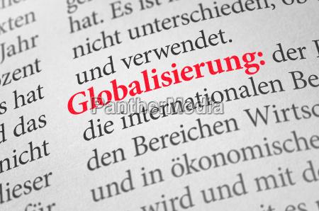 woerterbuch mit dem begriff globalisierung