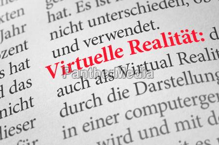 woerterbuch mit dem begriff virtuelle realitaet