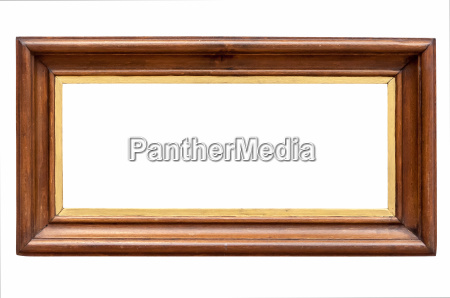 dark wooden picture frame isolated on