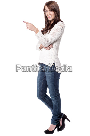 young woman indicating something