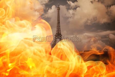 heiss paris hitze bewoelkt wolkig brand