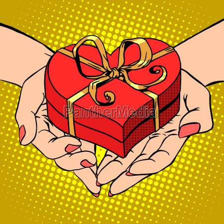 frau palmenform roten herzen geschenk box