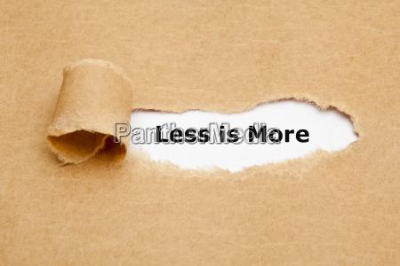 weniger ist mehr heftiges papier