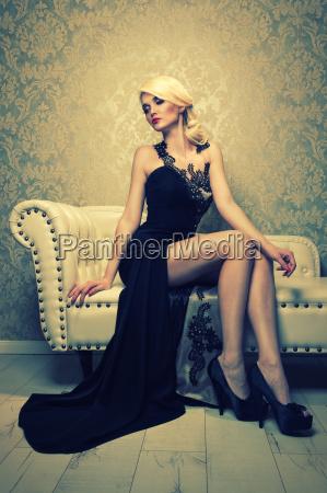 attractive blond woman in elegant evening