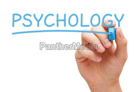 psychologie hand blau marker