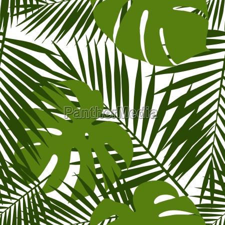 palmblatt und monstera silhouetten nahtlos muster