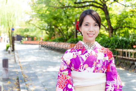 japanese woman wearing traditional japanese dress