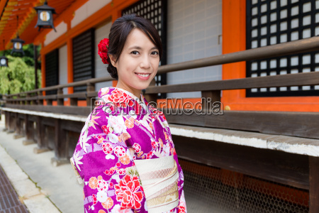 woman with kimono dress at traditional