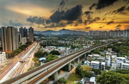 hong kong urban downtown and sunset