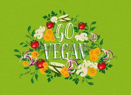 go vegan food illustration with vegetable