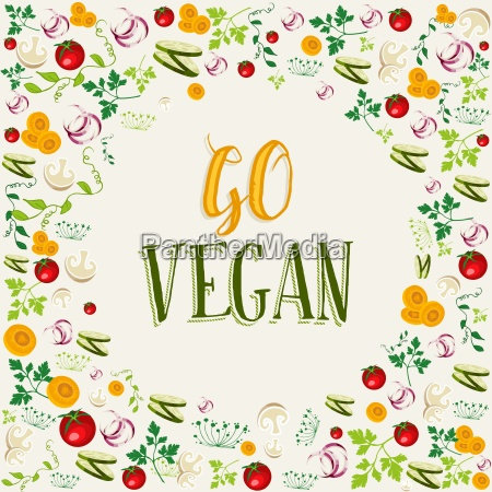 raw vegetable background with go vegan