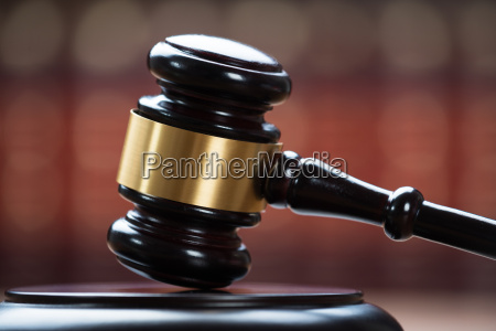 wooden mallet in courtroom