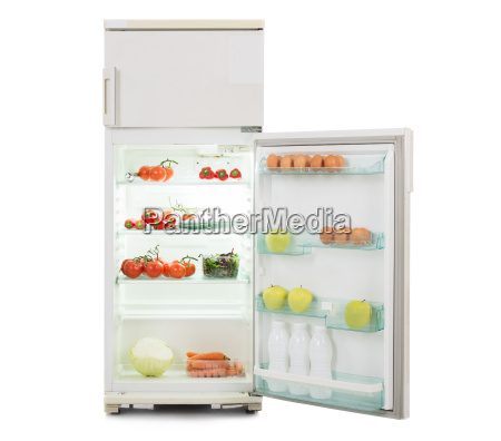 open refrigerator full of fresh and