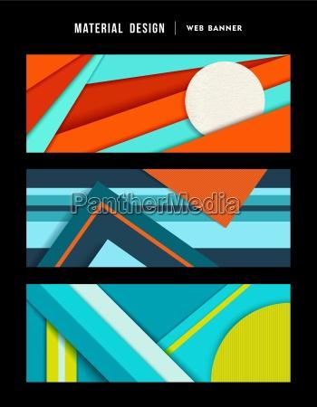material design abstraktes web banner set