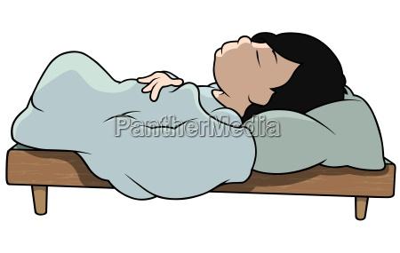 sleeping boy in bed