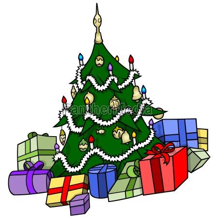 weihnachtsbaum mit praesentieren
